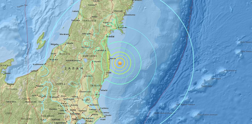Mappa epicentro scossa di terremoto Giappone 6.9 del 22 novembre 2016